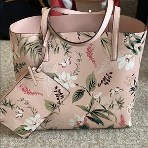 Pink Botanical Kate Spade tote with small clutch